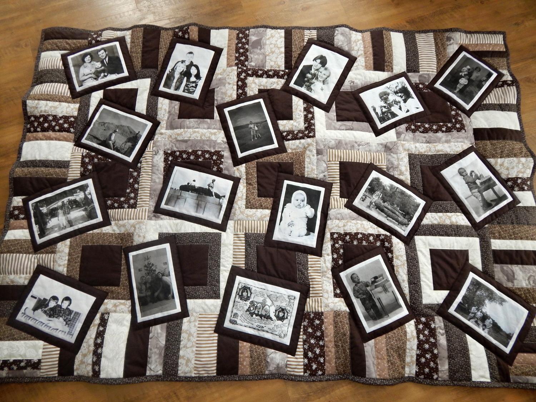 Hnědá deka s fotkami